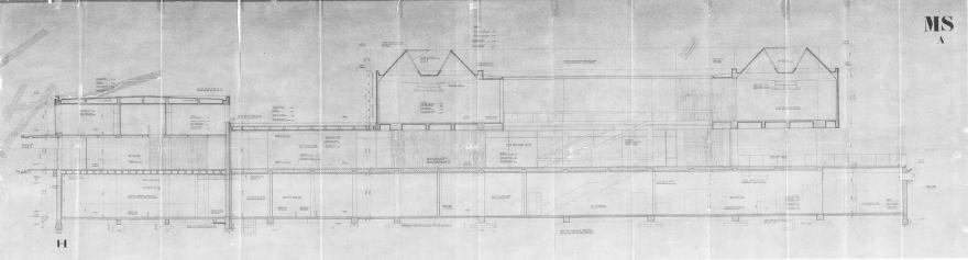 Оригинален цртеж на пресек на зградата на МСУ